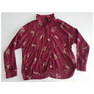 Forever 21Plus Dark Red Floral Button Up Shirt